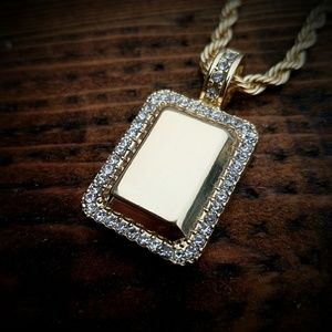 14k Gold Plated ICED OUT Gold Block Necklace